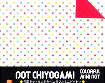Japanese Double-Sided Origami Paper - Colourful Mini Polka Dots - 15cm (6 inches)