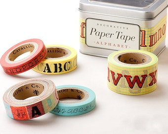Cavallini & Co. Paper Masking Tape - Alphabet - Set 5 with Steel Tin