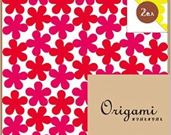 Japanese Origami Paper 15cm (6 inches) - Flowers in Red & Yellow