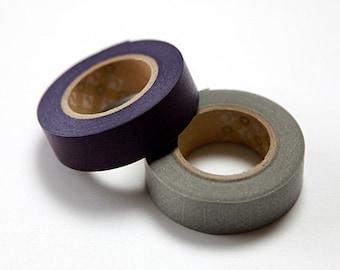 mt Washi Masking Tape - Grape & Silvery Grey - Set 2 (15m rolls)