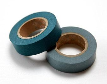 mt Washi Masking Tape - Bottle Green & Light Indigo - Set 2 (15m rolls)
