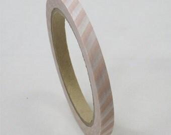 mt Washi Masking Tape - Peach Pink Stripes - Large core (35m roll)