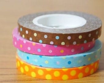 Funtape Masking Tape - Polka Dots in Brown, Hot Pink, Mint Blue & Orange - Slim