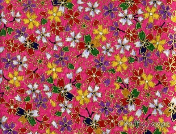 Japanese Kimono Fabric Tape - Self Adhesive - Sakura in Pink