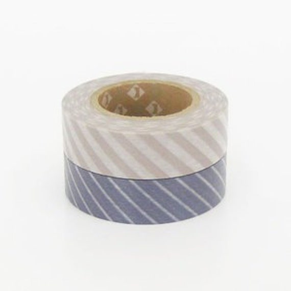 mt Washi Masking Tape -  Pinkish Grey & Ash Purple Stripes - Set 2 (15m rolls)