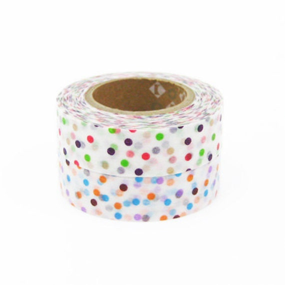 mt Washi Masking Tape - Colourful Confetti Dots Green & Lavender - Set 2 (15m rolls)