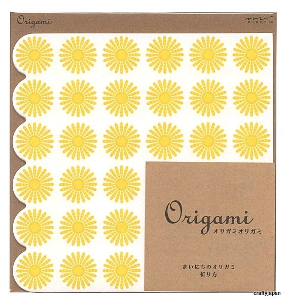Japanese Lace Origami Paper 15cm (6 inches) - Yellow Flowers