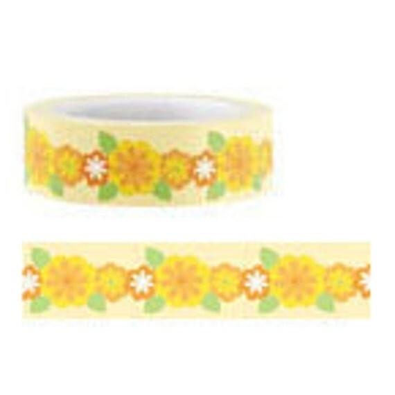 Funtape Masking Tape - Orange Flower Chain