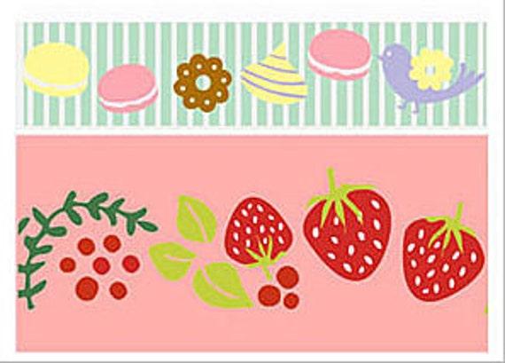 SALE - Funtape Masking Tape - Macaron Sweets & Strawberries - Wide Set 2 - 25% off