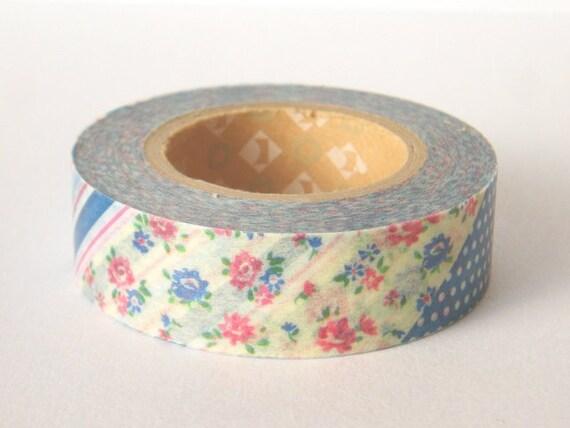 mt Washi Masking Tape - Dark Blue Flowers & Stripes - Limited Edition Japanese