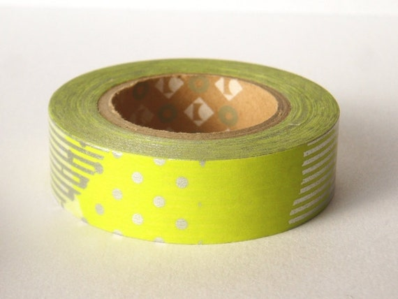 mt Washi Masking Tape - Yellow Spots & Stripes Collage - Limited Edition