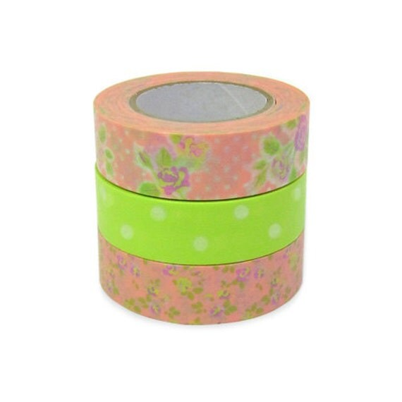 Colte Washi Masking Tape - Rose Pale Green - Set 3