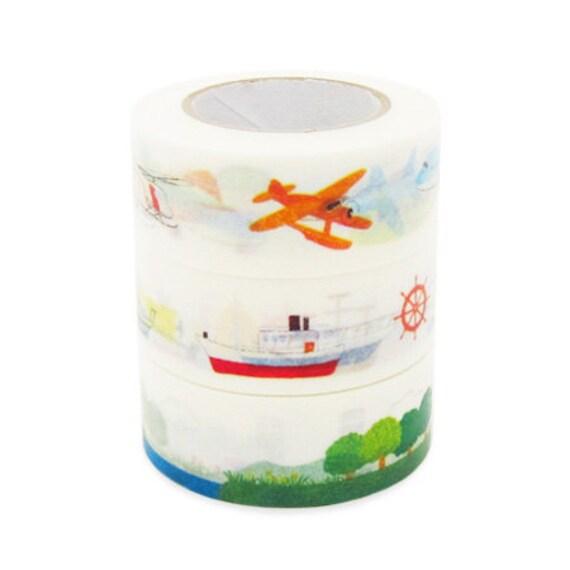 Colte Washi Masking Tape - Air & Land Transport - Wide Set 2 - Kids