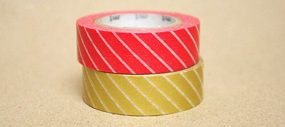 mt Washi Masking Tape - Red & Gold Stripes - Set 2