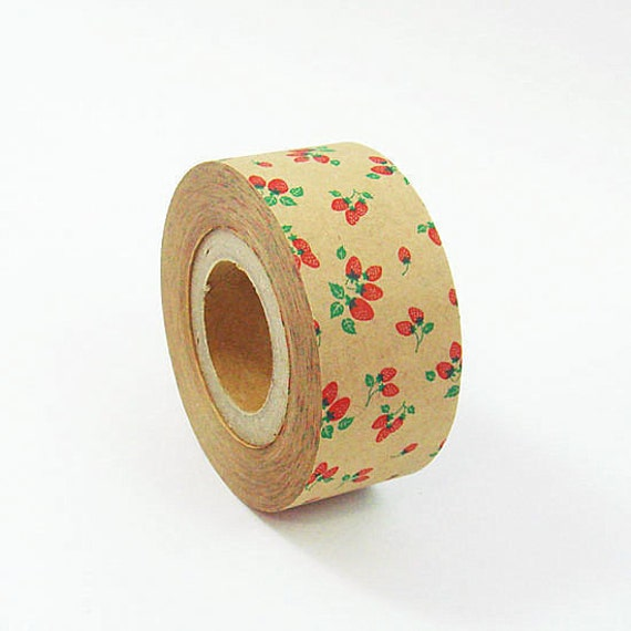 SALE - Cartonnage Tape - Strawberry on Brown - 25mm Wide - 25% off