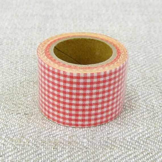 Kurashiki Fabric Masking Tape - Red Gingham Check - 30mm Wide