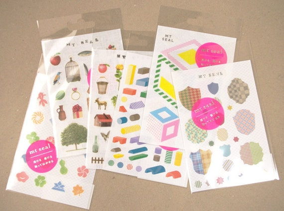 mt Seal Washi Stickers - Geometric Shapes & Crests - Choose from 3 designs
