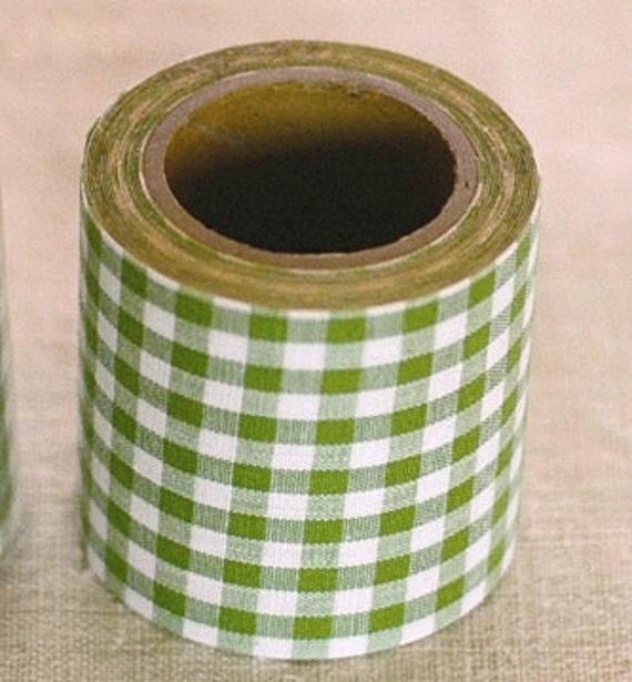 Kurashiki Fabric Masking Tape - Green Gingham Check - 45mm Wide