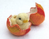 EASTER SET of FOUR animals- a matchbox bunny, a matchbox hen, a needle felted bunny, a needle felted chick in a wet felted egg
