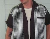 Men's Rockabilly Shirt Jac Black & White Plaid 1950's Style