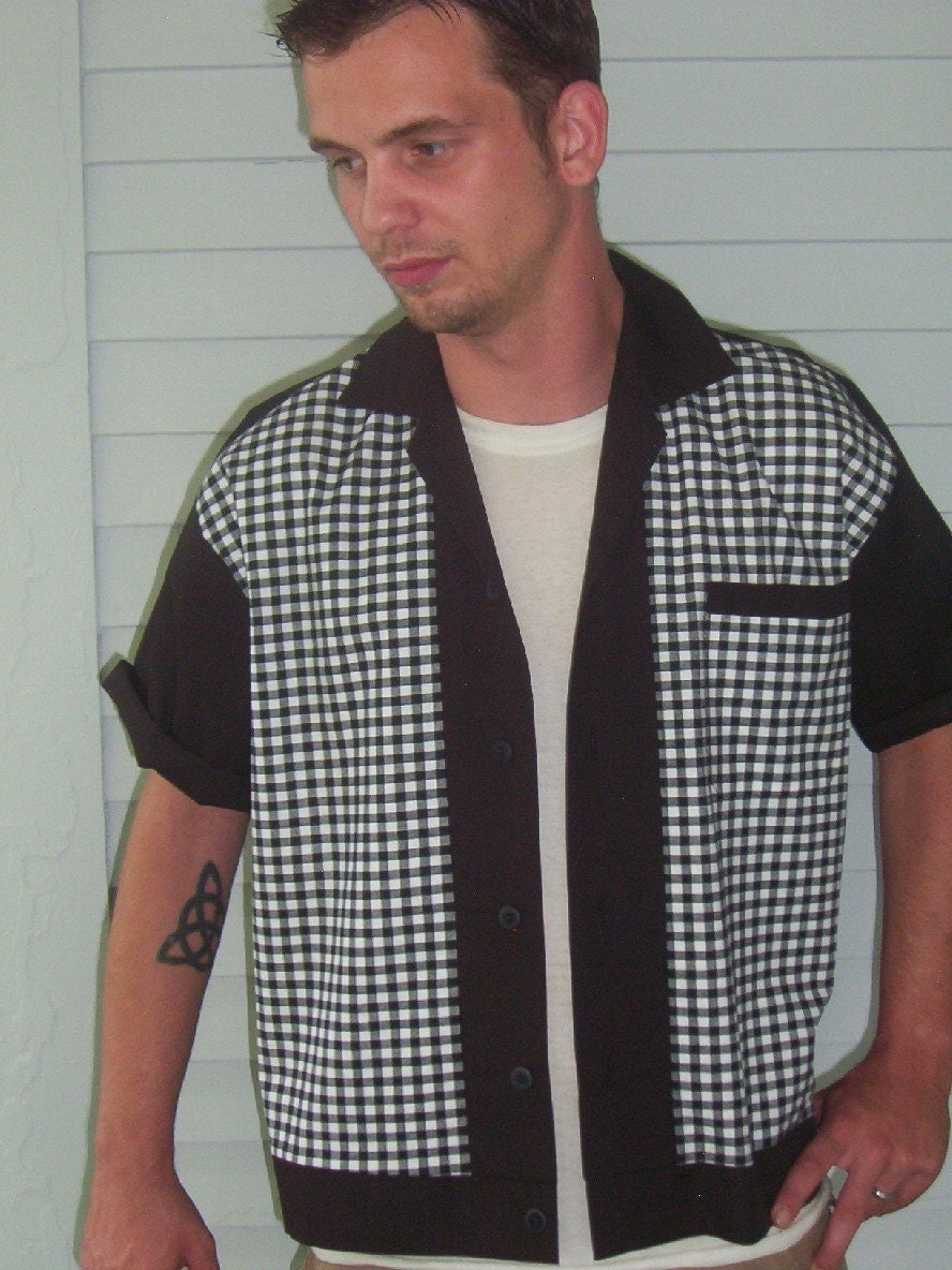 s rockabilly shirt jac black white plaid 1950 s