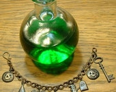Antique Brass Halloween Charm Bracelet, Sterling Webs, Halloween, Costume, Spider, Web, Trending, Autumn, Fall, Witch