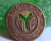 NYC Subway Y token vintage New York City POVT