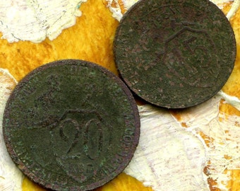 2 OLD Russian COINS 1931 antique  copper STEAMPUNK jewelry May 169 T 17