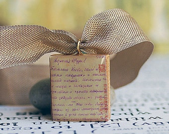 A LETTER from the PAST...  vintage Scrabble tile pendant... x211