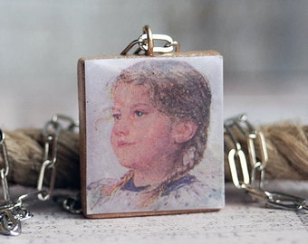 LITTLE GIRL...    vintage photo Scrabble pendant...  x211