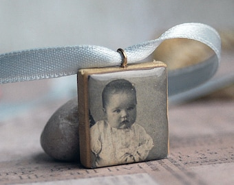 BABY...    vintage photo Scrabble pendant...  x211
