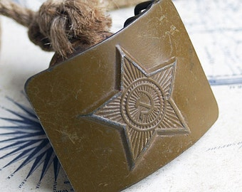 vintage brass buckle to the Soviet military a leather belt....     Apr 10