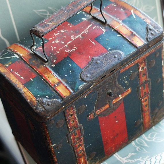 XIX cent. grungy and beautiful  tin box  to use in your  mixed media HOME DECOR or in any way you would want it to