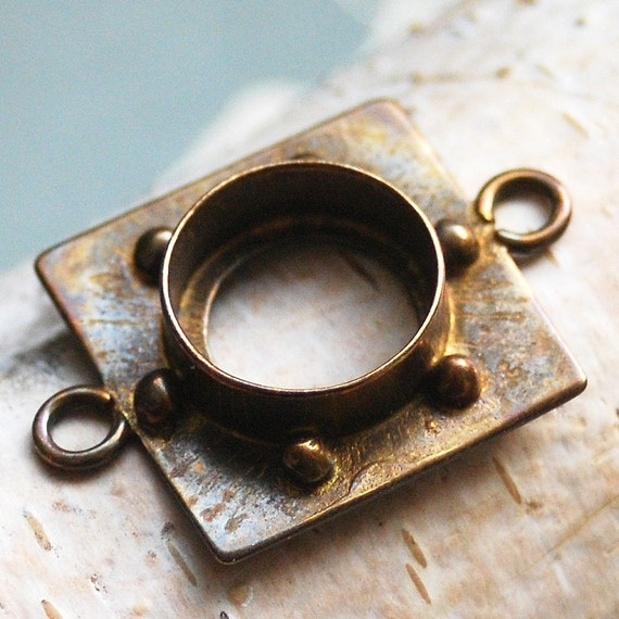 bronze bezel for a  Pendant....   to use in your ASSEMBLAGE mixed media JEWELRY or in any way you would want to  POVT