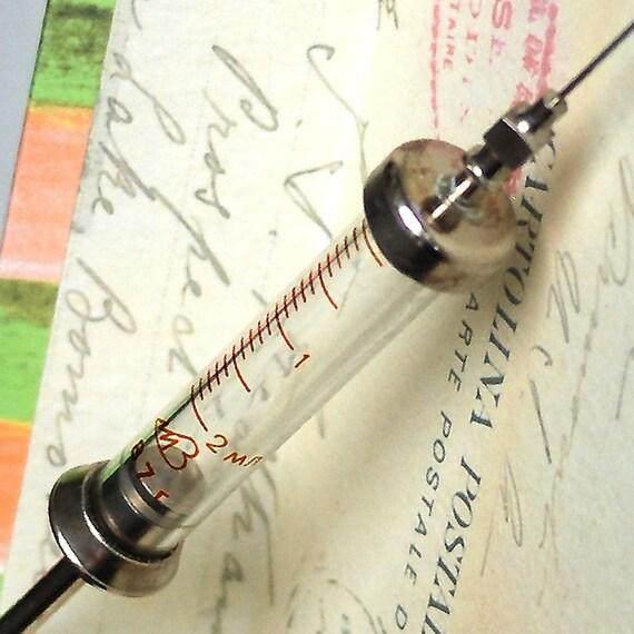 nurse...  will it hurt...  vintage glass hypodermic syringe POVT