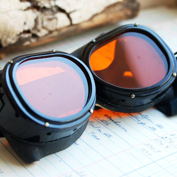 STEAMPUNK at its best...  vintage goggles or glasses to ride your favorite motorcycle..POVT