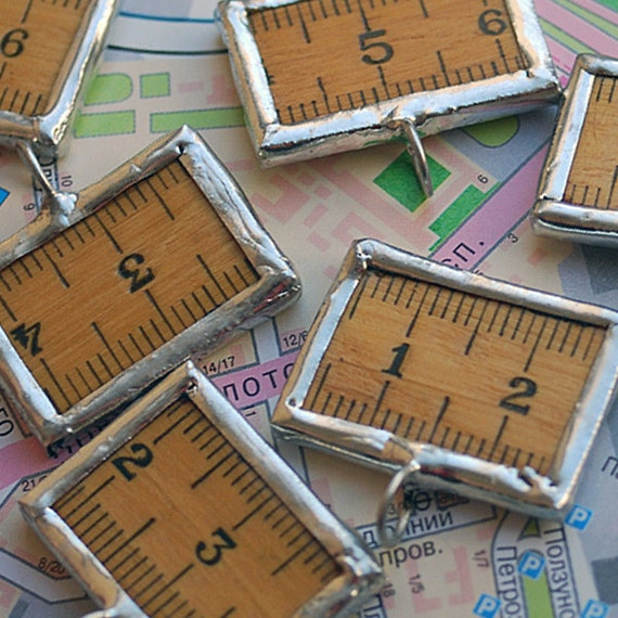 charms made from a vintage ruler...  for your bracelets, necklaces...   JEWELRY or in any way you would want it to CHARM lot POVT