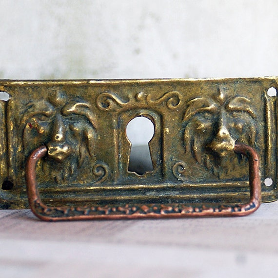 vintage  escutcheon... key hole plate to use in your assemblage altered books mixed media JEWELRY  Mar 10