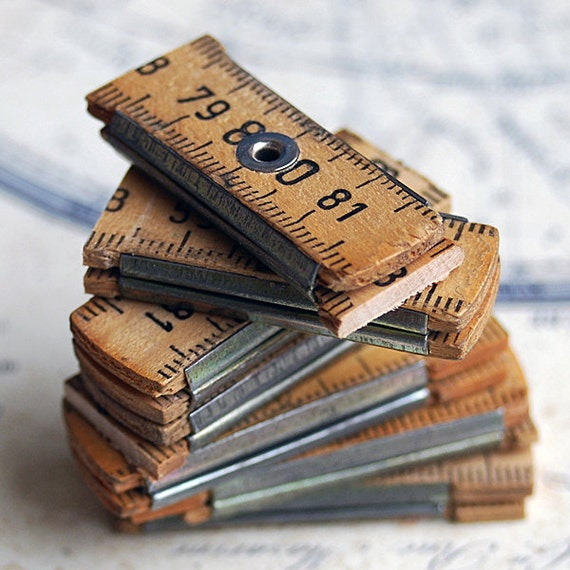 7 vintage ruler cuts...  just in case you could use them... JEWELRY or in any way you would want it to CHARM Apr 10
