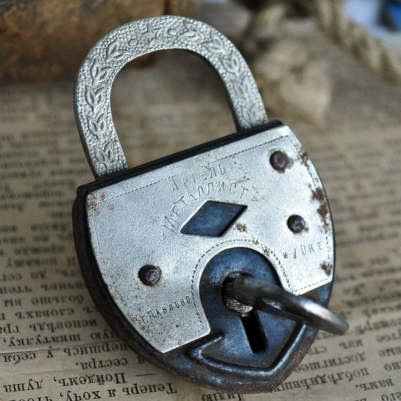 vintage lock with a key... to hold your big secrets... to use in your assemblage mixed media Home decor... May 14