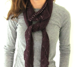 Hand Knit Lace and Beaded Scarf with Scalloped Edge