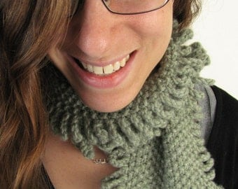 Sage Green Fringed Hand Knit Scarf