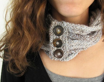 Pale Blue and Brown Handknit Stacked I-cord Cowl Scarf