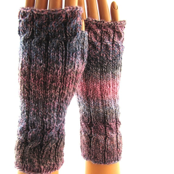 Pink & Grey Hand Knit Fingerless Gloves with cables