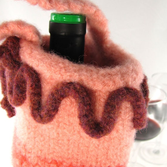 Shades of Peach, Cantaloupe and Terra Cotta Hand Knit and Felted BYOB Wine Tote Bag