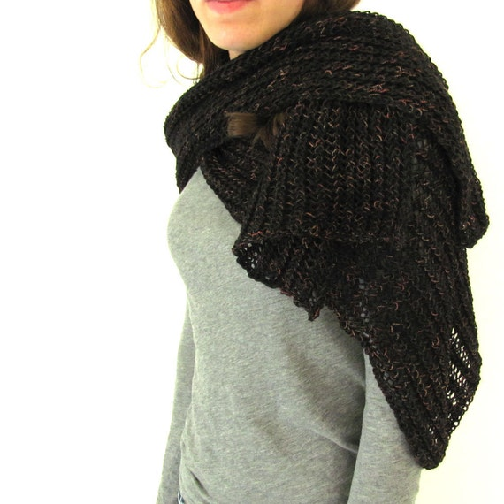 Black and Brown Hand Knit Scarf Wrap or Shawl