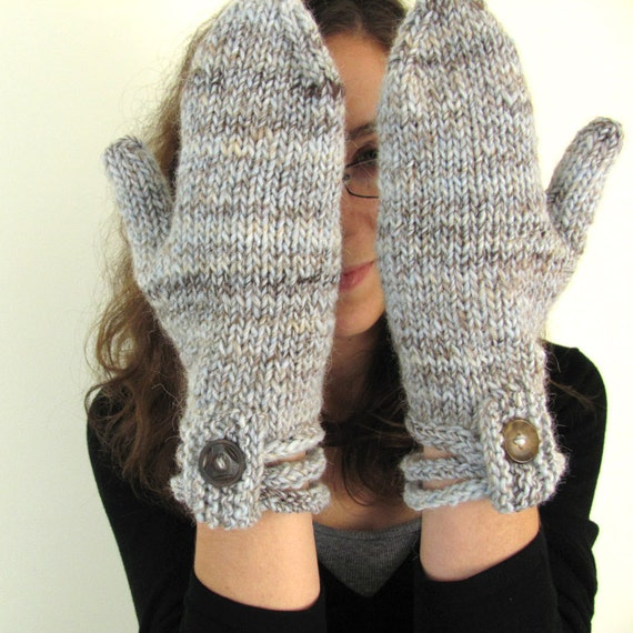 Pale Blue and Brown Handknit Mittens with Stacked I-cord Cuff