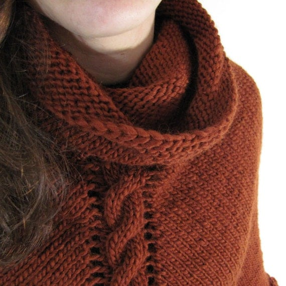 Autumn Copper color Cowl Neck Hand Knit Poncho with Cables and Fringe