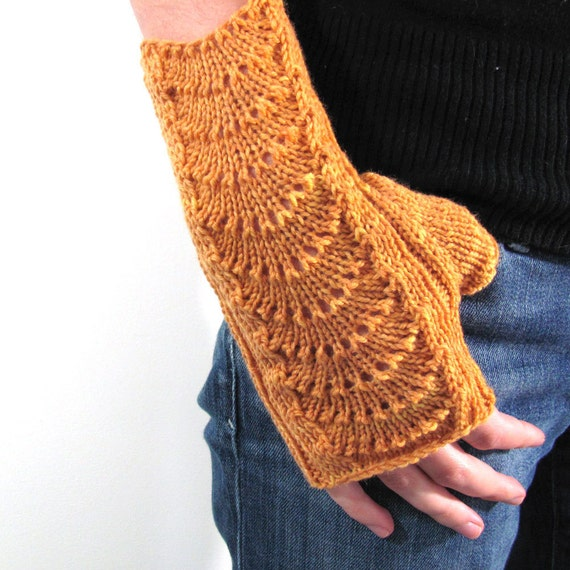 Sunny Mustard Yellow Hand Knit Fingerless Gloves
