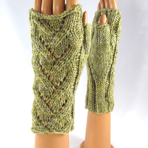 Earthy Green Hand Knit Fingerless Texting Gloves with Lace Accent and a Sparkle